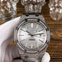 ingrosso moda scultura-Gli uomini di moda di lusso in acciaio inox diamante cassa in vetro zaffiro specchio scultura automatica diametro meccanico 42mm orologio.
