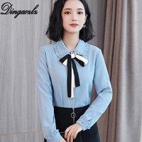 ingrosso moda femminile elegante coreana delle donne-Dingaozlz coreano 2019 lady office shirt elegante femminile manica lunga arco cuciture in chiffon camicetta moda casual donna top
