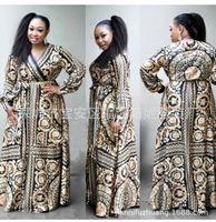 ropa ankara al por mayor-Vestidos africanos para mujer Ropa africana Vestido africano estampado Manga larga suelta Dashiki para mujer ropa ankara tallas grandes
