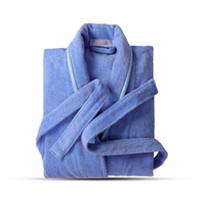 мужские полотенца халат оптовых-Terry Robe Pure Хлопок Любителей Халат Синие Халаты Мужчины Халат Женщины Твердые Полотенца Длинный Халат Пижамы Плюс Размер Xxl T2190612