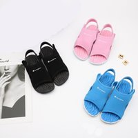 Wholesale summer ankle wrap sandals for sale - Group buy Brand kids girls sandal Champion Letters designer sandals Summer CHAMP Flat Sandals Children Beach Outdoor Leisure Shoes DHL C52506