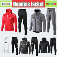 Wholesale men s hoodie tracksuit resale online - 2019 Survetement Real Madrid Hoodies Jacket Kit HAZARD PSG MBAPPE Training Suit Long Sleeve Tracksuits Maillot de foot Set