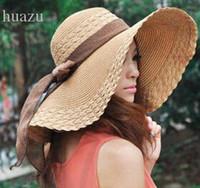 Wholesale wide brimmed hat free shipping resale online - women Sun Hats Ms summer big Wide Large Brim foldable Summer Beach SunHats