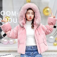 casacos curtos bonitos venda por atacado-Bonito Gold Coat Velvet Baixo Mulheres Winter Casual Curto coreanas Engrosse quente para baixo do revestimento do revestimento Feminino Streetwear Vogue Big Size Parka