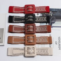Wholesale corset wide belts women for sale - Group buy 2020 Silver Gold Red Brown PU Elastic Waistband Women Punk Rivet Studded Wide Corset Belt Square Buckle Coat Dress Belt Girdle T200427