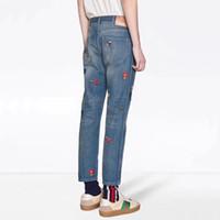 джинсы с голубыми джинсами оптовых-Сделано в Италии вышивка синие джинсы патч мода старинные прямые джинсы повседневная джинсовые брюки уличная мужская женская джинсы брюки Hflskz105
