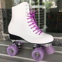 patinaje sobre ruedas al por mayor-Patín para niñas genuino rodillo de piel patines de doble línea patines señora de las mujeres adultas Violeta 4 Ruedas dos zapatas de línea de patinaje