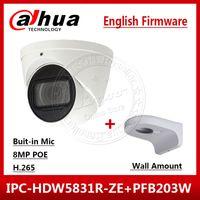 dahua mount toptan satış-Dahua IPC-HDW5831R-ZE 4 K 8MP POE 2.7mm ~ 12mm motorlu IR50m IP67 Güvenlik Kamera SD Kart Dahili Mic Duvara Monte PFB203W
