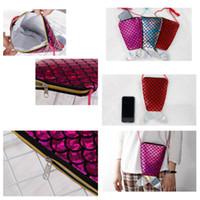 trajes de telefone venda por atacado-Bonito saco dos miúdos saco do telefone móvel lantejoulas versátil sacos de ombro fishtail diagonal span mini sacos de acessórios crossbody bag T2D5039