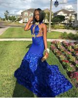 fotos de rosas naturais venda por atacado-Fotos reais Sereia Azul Royal Vestidos de Baile Para Meninas Negras Vestidos de Noite Keyhole Pescoço Rendas Apliques Rose Flores Vestido Formal