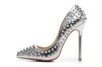 sapatos pontudos online venda por atacado-Sapatos de grife de moda Rebite Mulheres de Salto Alto 12 cm Couro Inferior Da Marca Apontou Toes Preto Vermelho Bombas Sapatos Vestido de Venda Online