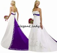 Wholesale train stain resale online - Vintage White and Purple Embroidery Wedding Dresses Strapless Lace Beaded Stain Sweep Train Church Garden Temple Bridal Gown Plus Size