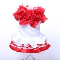 ingrosso rose colorate-New Dog Cat Princess Dress Tutu Roses Design Cat Puppy Gonna Abiti Outfit Wedding Party Apparel 5 Taglie 2 Colori