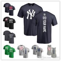 camisas personalizadas para homens venda por atacado-2019 mulheres dos homens feitos sob encomenda da juventude ny yankees t camisa de beisebol nome personalizado e número da bandeira da onda de beisebol tri-blend camisola de alças jerseys