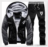 erkek fleece setleri toptan satış-Kış Autumnmen Ter Takım Elbise Polar Sıcak Erkek Eşofman Set rahat Koşu Spor Takım Elbise Spor Serin Ceket Pantolon Ve Kazak Seti Ücretsiz Sh