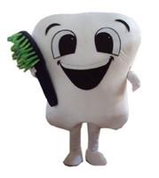 trajes de dentes venda por atacado-Vendas quentes de dente mascote dos desenhos animados traje da mascote traje traje de Halloween mascote do dente frete grátis