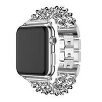 altın iwatch toptan satış-Lüks Watchband Apple Için Watch Band 38mm 42mm Alaşım Çelik Kayış Iwatch Band Serisi 1 2 3 4 40mm 44mm Zincir Bilezik Stil Yeni Altın