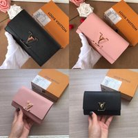 Wholesale zip long wallet for sale - Group buy 2019 brand long wallets fashion wavy leather women clutch bag luxury designers high quality classic zip pocket