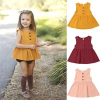 top bebé amarillo al por mayor-Moda Baby Girls Niños Sin mangas Summer Tops Vestido Botón Casual Sundress Beach Color sólido Amarillo Rojo Rosa