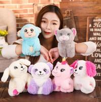 Wholesale stuffed animals for babies online - Soft Plush Wristband stuffed Animal Kids Toy Slap Bracelet Monkey unicorn Plush Toys soft wrist band For Baby Gift KKA6566