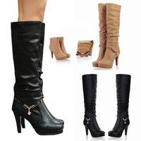 ingrosso scarpa coscia pura-Coscia alti stivali moda colore puro Round Toe Slip-On stivali tacchi alti sottili di scarpe delle donne dell'annata più il formato 43 Feminina zapatos de Mujer