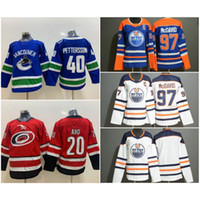 edmonton jugend großhandel-Jugend Kinder Carolina # 20 Sebastian Aho Hurricanes Vancouver Canucks # 40 Elias Pettersson Trikots Edmonton Oilers # 97 Connor McDavid Genäht