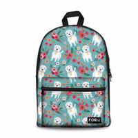 niedlicher rucksack für laptop großhandel-Designer-Customized Mädchen Schultaschen Senior High School Frauen Rucksack Westie Hundemuster Laptop Schultasche für Kinder Taschen Bookbag Cute