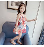 Wholesale cashmere turtleneck dress resale online - New INS Kids Little Girls Floral Dresses Pink Ruffles Sleeveless Summer Square Collar Flower Blackless Printing Child Students Clothing T