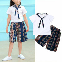 Wholesale kids clothings resale online - Toddler Kids Baby Girl Summer Clothings Sets White Tops T shirt Casual Print Shorts Princess Cute Outfits Clothes Sunsuits