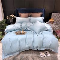 lila ägyptischen baumwollbettwäsche großhandel-Hellblaues Bettwäsche-Set aus ägyptischer Baumwolle, Königin, Kingsize-Bett-Set, Rosa, Lila, Bettbezug, Bettlaken-Set, Kissenbezug