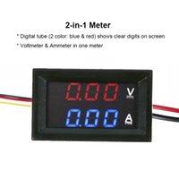 dc dijital amper göstergesi toptan satış-Toptan DC 100 V 10A Voltmetre Ampermetre Mavi Kırmızı LED Amp Çift Dijital Volt Panel Metre Ölçer