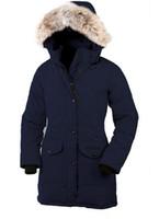 mulheres do ganso do revestimento para baixo venda por atacado-HOT venda 2019 Jacket Trillium Parka Feather Goose Down Coyote casaco de pele de Mulheres longo inverno Overcoat Goose mulheres Parka Canadá por Mulheres 55