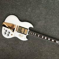 neue art e-gitarre großhandel-E-Gitarre der neuen Art-Gewohnheit SG, E-Gitarre mit 3 Pickups Goldhardware SG mit Goldtremolo-System, freies Verschiffen