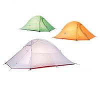 tienda de campaña ultraligera al por mayor-1.2KG Naturehike Tent 20D Tejido de silicona Ultraligero 2 personas Capas dobles Carpa de aluminio Carpa para acampar 4 estaciones con esterilla para 2 personas IS0343