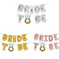 decoração do casamento do anel do diamante venda por atacado-Decoração do casamento Carta Balões Criativos 16 polegadas de Prata de Ouro Da Noiva Para Ser Carta Foil Balões Anel de Diamante Decoração Do Partido TTA1141
