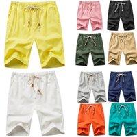 homens drawstring linho calças venda por atacado-Homens Casual Sólidos Com Cordão Bolso Calças De Linho De Praia Calças Moda Novos Homens Shorts