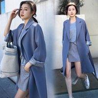 costume femme coréenne achat en gros de-2019 Printemps Automne Femmes Mode Corée Style Long Solide Couleur Empire Taille Bureau Dame Costume Col Manteau Femme Vent Trench-Coat