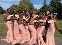 uzun siyah zarif nedime elbiseleri toptan satış-Afrika Artı boyutu Gelinlik Modelleri Denizkızı Kat Uzunluk Elastik Saten Siyah Kadın Şık Siyah Uzun Düğün Misafirler Önlük