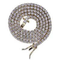 14k алмазных цепей оптовых-3MM 18K позолоченные мужские теннисные цепочки ожерелье Iced Out Lab Diamond 16 18 20 24 дюймов
