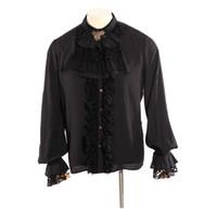 ingrosso uomini in camicia nera increspata-Gothic Men Necktie Shirt Black Stand Collar Tuxedo Camicie Punk maniche lunghe Ruffles camicetta formale camicie