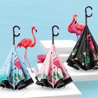 regenschirmhalter großhandel-Cartoon Folding Reverse Flamingo Regenschirme Kreative Doppelschicht Inverted C Handhalter Stehen Regen Winddicht Roll Über Regenschirm TTA812