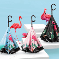 Wholesale stand holder hand resale online - Cartoon Folding Reverse Flamingo Umbrellas Creative Double Layer Inverted C Hand Holder Stand Rain Windproof Rolling Over Umbrella TTA812