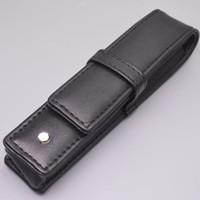 bolsitas para lapices al por mayor-Comercio al por mayor Negro PU cuero MB pluma caso papelería oficina alta calidad bolsa de la marca conjunto regalo bolsa de lápiz