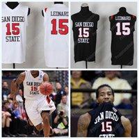 abd yamaları toptan satış-Kawhi Leonard 15 San Diego State Üniversitesi Forması ile ABD Bayrağı yama Erkek NCAA Koleji Basketbol Forması Çift Dikişli Adı Numarası Logo