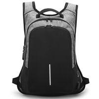 ingrosso male fashion backpacks-Zaino antifurto per uomo Zaino per laptop con carica USB Zaino da viaggio da uomo impermeabile da viaggio di moda maschile