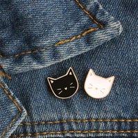 broş kedi toptan satış-Sıcak Karikatür Sevimli Kedi Hayvan Emaye Broş Pin Rozeti Dekoratif Takı Stil Kadınlar Hediye Için Broşlar T353