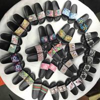 Wholesale slipper men summer fashion online - Men Women Sandals Designer Shoes Luxury Slide Summer Fashion Wide Flat Slippery Sandals Slipper Flip Flop size flower box