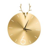 большие механические настенные часы оптовых-Творческий Металл Олень Голова Настенные Часы Мода Простая Атмосфера Чистая Медь Гостиная Часы Современные Украшения Дома Кварц