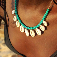 Wholesale blue stone rope necklace resale online - Boho Seashell Choker Necklace for Women Shell Collar Conchas Green Red Blue Stone Beads Gold Chain Crystal Necklace Jewelry
