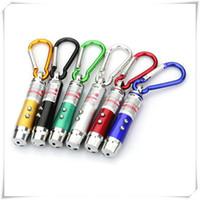 rot blinkende taschenlampen großhandel-Draußen LED Taschenlampe 3 In 1 LED Licht Rot LED Laser Stift Pointer Blitzlicht Taschenlampe Notfall Schlüsselbund